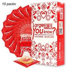 10 pces mais tamanho 55mm condones tamanho grande preservativos para pênis grande homem verdadeiro ultra seguro pênis manga látex natural ferramenta de contracepção