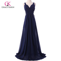 Free Shipping Grace Karin Elegant Sexy Strap V Neck Long Party Prom Cocktail Evening Dress 2013