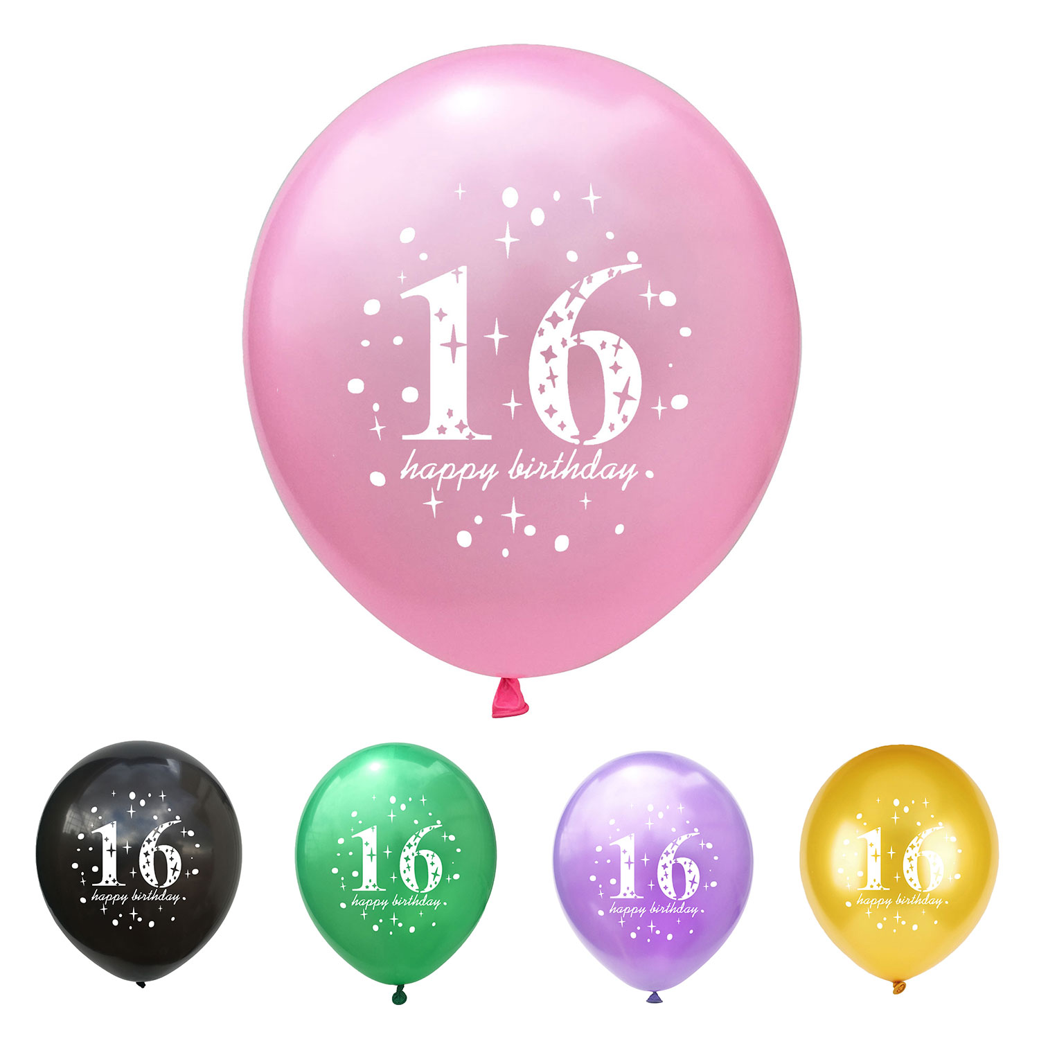 ZLJQ 16th Birthday Latex Balloons 12inch 10pcs Girl Gold Happy Party Decorations Supplies
