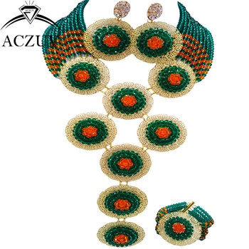 ACZUV Brand Army Green Orange African Jewelry Set Bead Black Women Nigerian Wedding Accessories A10R020