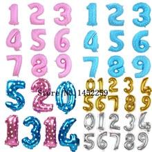 Бесплатная доставка алюминиевые воздушные шары день рождения ну вечеринку 0 — 9 золото и серебро — синий — розовый воздушные шарики оптовая продажа