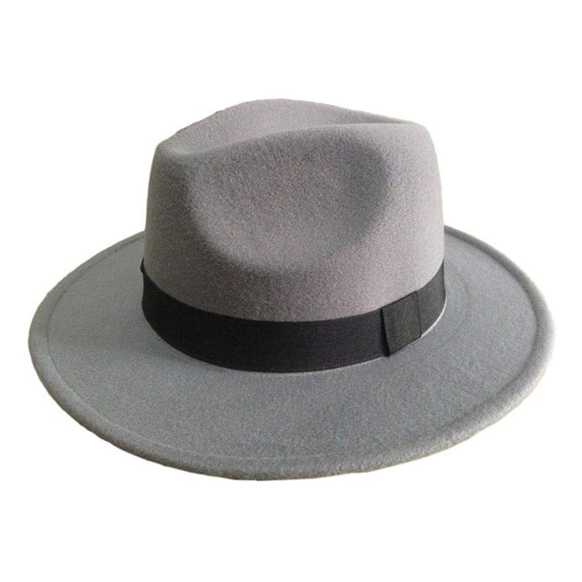 Mäns ull Filt Snap Brim Hat Trilby Women Vintage Wool Panama Fedora - Kläder tillbehör - Foto 3