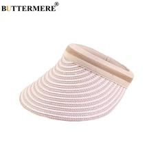 BUTTERMERE Visor Sun Hat Women Pink Straw Hats Female Face Protection Adjustable Sports Long Brim UV Ladies Summer Cap