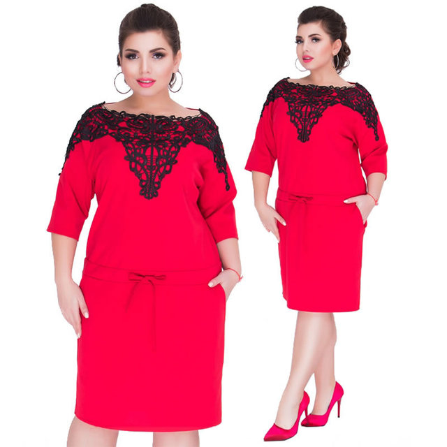 2018 New Plus Size L-6XL Women Fat MM Office Uniforms Banquet Costumes  Casual 3 Colours Half Sleeve Lace Solid Party Dresses JT c0ac5eb2f62f