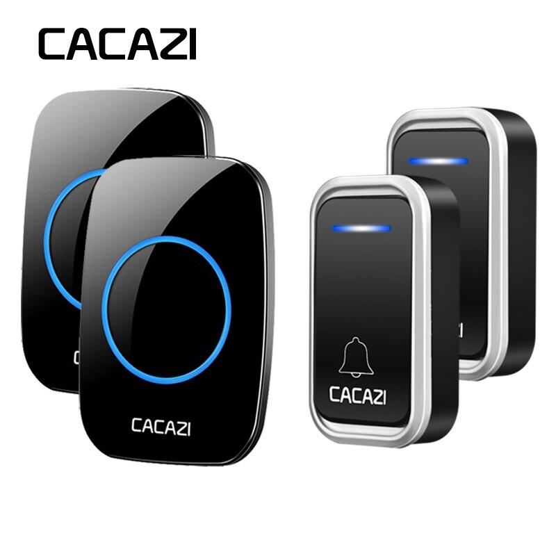 CACAZI Smart Wireless Doorbell Waterproof LED Intelligent Remote 300M Battery Button Calling Door Bell EU Plug