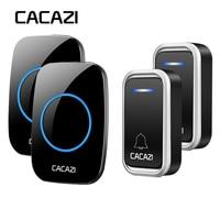 CACAZI Smart Wireless Doorbell Waterproof LED Intelligent Remote 300M Battery Button Calling Door Bell EU Plug 38 Chime 3 Volume