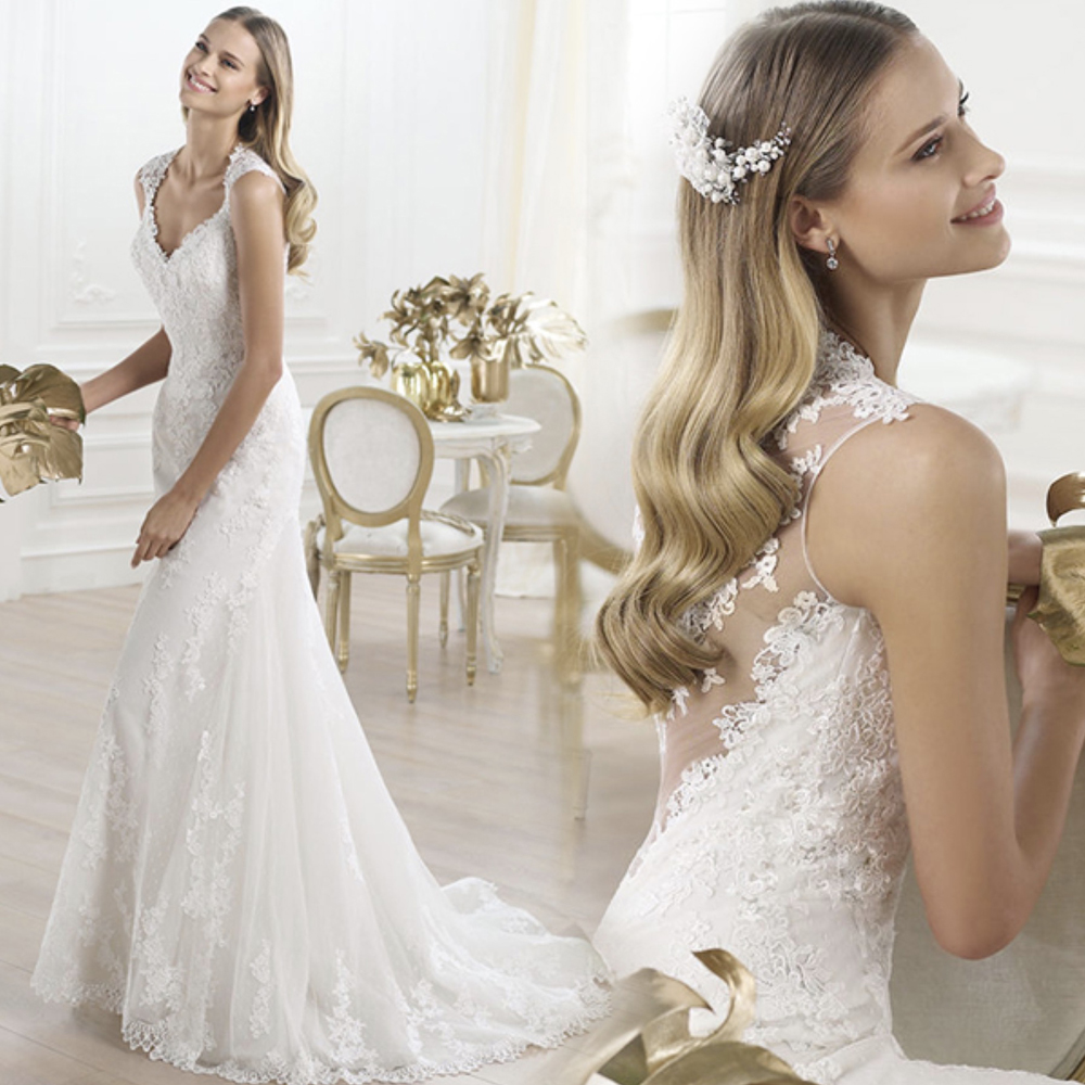 Fansmile Illusion Vestido De Noiva See Through Lace Mermaid Wedding Dresses 2019 Tulle Custom-made Wedding Gown Bride FSM-457M