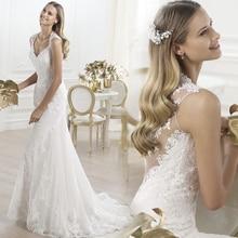 Fansmile الوهم Vestido De Noiva انظر من خلال الدانتيل حورية البحر فساتين الزفاف 2020 تول حسب الطلب ثوب زفاف العروس FSM 457M