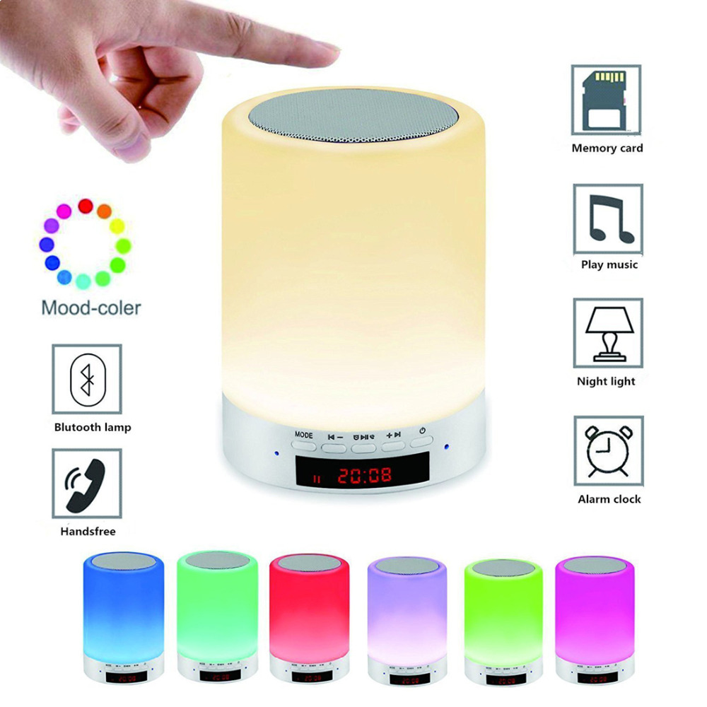 Night Light Bluetooth Speaker Rechargeable Wake Up Light