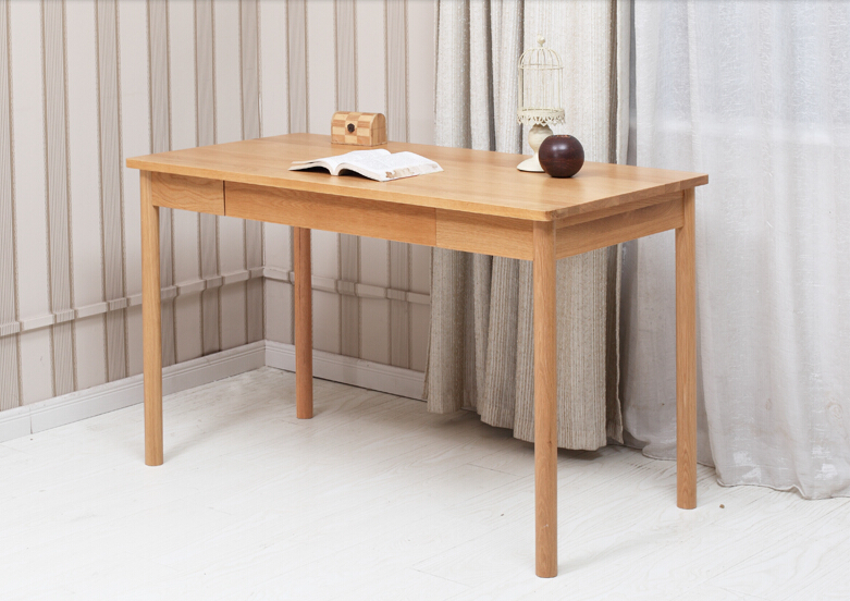 Solid Wood Home Office Furniture Desk White Oak Natural Finish Modern Luxury Elegant Computer Wooden Writing