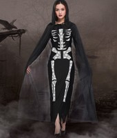 CrossBones Disfraces Cosplay For Women Halloween Canival Skullcandy Dress And Cloak Cosplay Fancy Ball Fantasia Costume