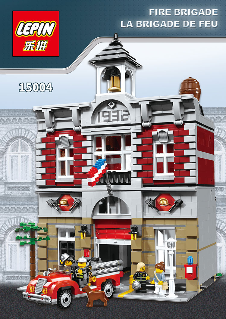 2313Pcs Lepin 15004 City Street Creator Fire Brigade 10197 Model Building Kits  Blocks Bricks Compatible with lego lepin city creator 3 in 1 beachside vacation building blocks bricks kids model toys for children compatible with lego gift kid
