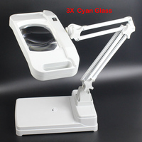 High Quality Desktop Magnifier Lamp With Light Folding Square Magnifying Glass Table Lamp 3X With Green