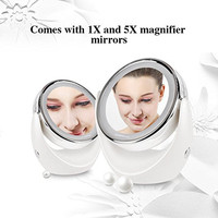 Desktop Double Sided Led 360 Degree Swivel Cordless Table Cosmetic Makeup Magnifying Mirror Lights With Illumination