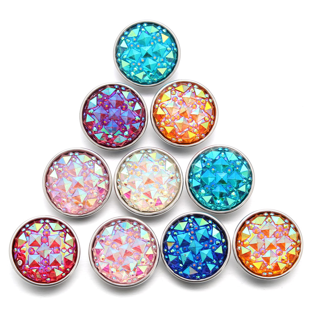 New 10pcs Mix 18mm Snap Buttons copper alloy rhinestone Ginger Charm Jewelry