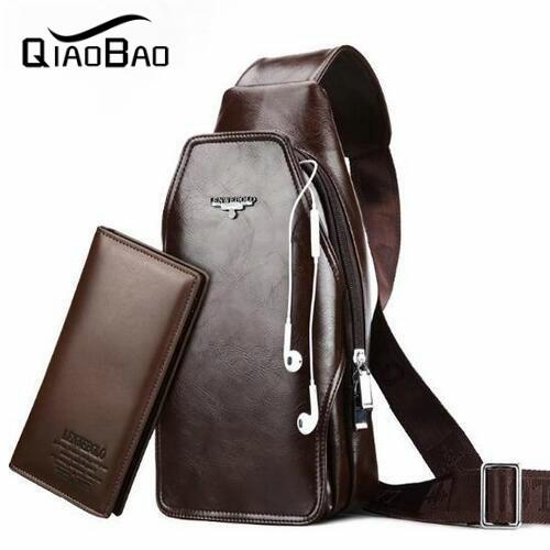 QIAO BAO (con la Cartera) marca LogoGenuine Hombres de Cuero Pequeña Caja Del Teléfono Móvil Paquete de la Cintura Bolsas de Viaje de Los Hombres Bolso de La Correa Negro Marrón