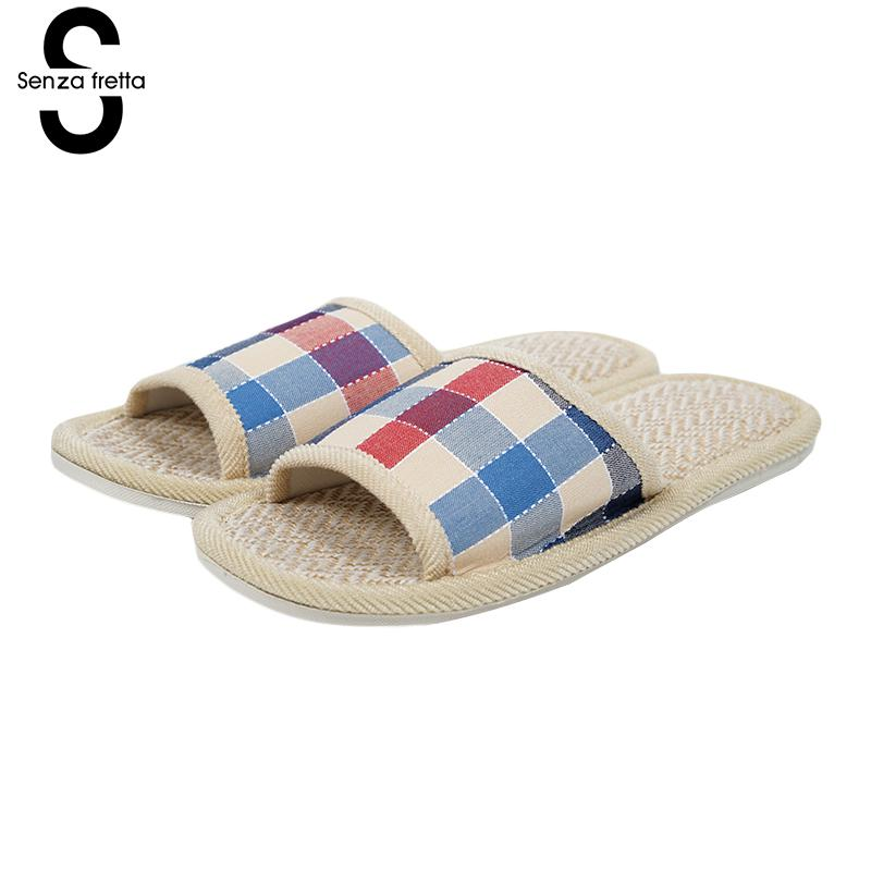 Senza Fretta Shoes Women Autumn Men Home Slippers Plaid Linen Soft Slippers Indoor Bedroom Slippers Couple Floor Warm Shoes women floral home slippers cartoon flower home shoes non slip soft hemp slippers indoor bedroom loves couple floor shoes