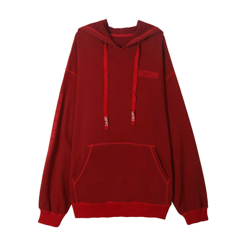 UNIFREE 2019 Autumn new arrival red tops sweatshirt women tide fire fall shirt hooded long section Korean style loose UAA183A017