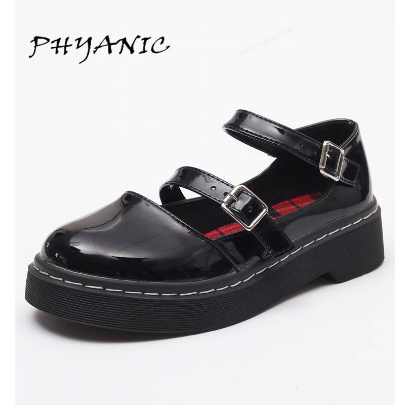 PHYANIC Oxfords Shoes Woman 2017 New Casual Buckle Platform High Heels Low Heels Summer Round Toe Women Brogue Shoes PHY7304 phyanic 2017 summer new women sandals with chain women buckle strap flat platform summer casual shoes woman phy3413