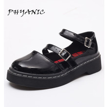 PHYANIC Oxfords Shoes Woman 2017 New Casual Buckle Platform High Heels Low Heels Summer Round Toe Women Brogue Shoes PHY7304