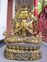 Xd 001386 38 Enorme Tibet Bronce Gild Cuatro armado Leones Sit kwan-yin estatua de Buda