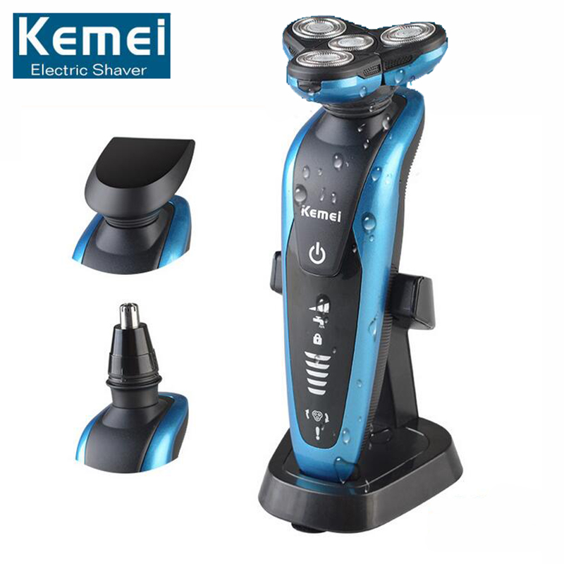 Original KM58892  New 3 in1 Washable Rechargeable Electric Shaver Triple Blade Electric Shaving Razors Men Face Care 3D Floating kemei7000 3 in1 washable rechargeable electric shaver triple blade electric shaving razors men face care 3d floating km 7000