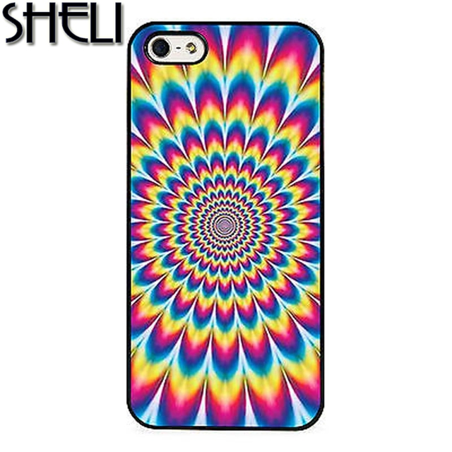Brand new SHELI Mind Optical Illusion Hippie Colour Phone Case For iPhone 6  VX67