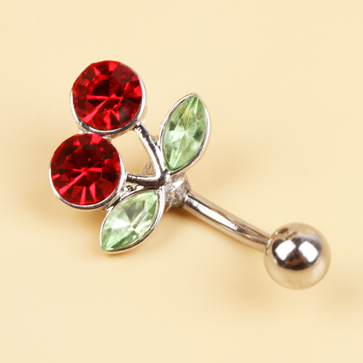 Charming Piercing Body Jewelry Surgical Steel Red Cherry Rhinestones Inlaid Belly Button Navel Ring 0056