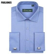 5XL שרוול ארוך גברים שרוול צרפתים עסקי חולצה רגיל Fit מוצק פורמליות חברתית PaulJones בגדי מותג מיובא סין שמלות