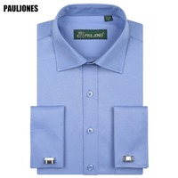 5XL Long Sleeve French Cuff Men Business Shirt Regular Fit Solid Formal Social Dresses Brand China Imported Clothing PaulJones