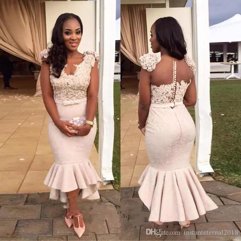 African Deep V-Neck Satin Mermaid   Bridesmaid     Dresses   Satin Mermaid Illsion Back Lace Formal   Dresses   2019 Custom Made