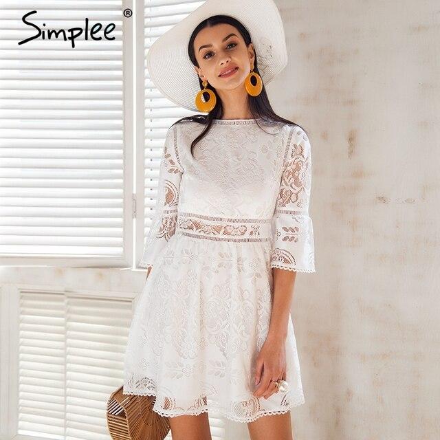 e557fa256 Simplee Botão meia manga Oco out vestido de renda mulheres streetwear vestido  branco Primavera 2018 causal