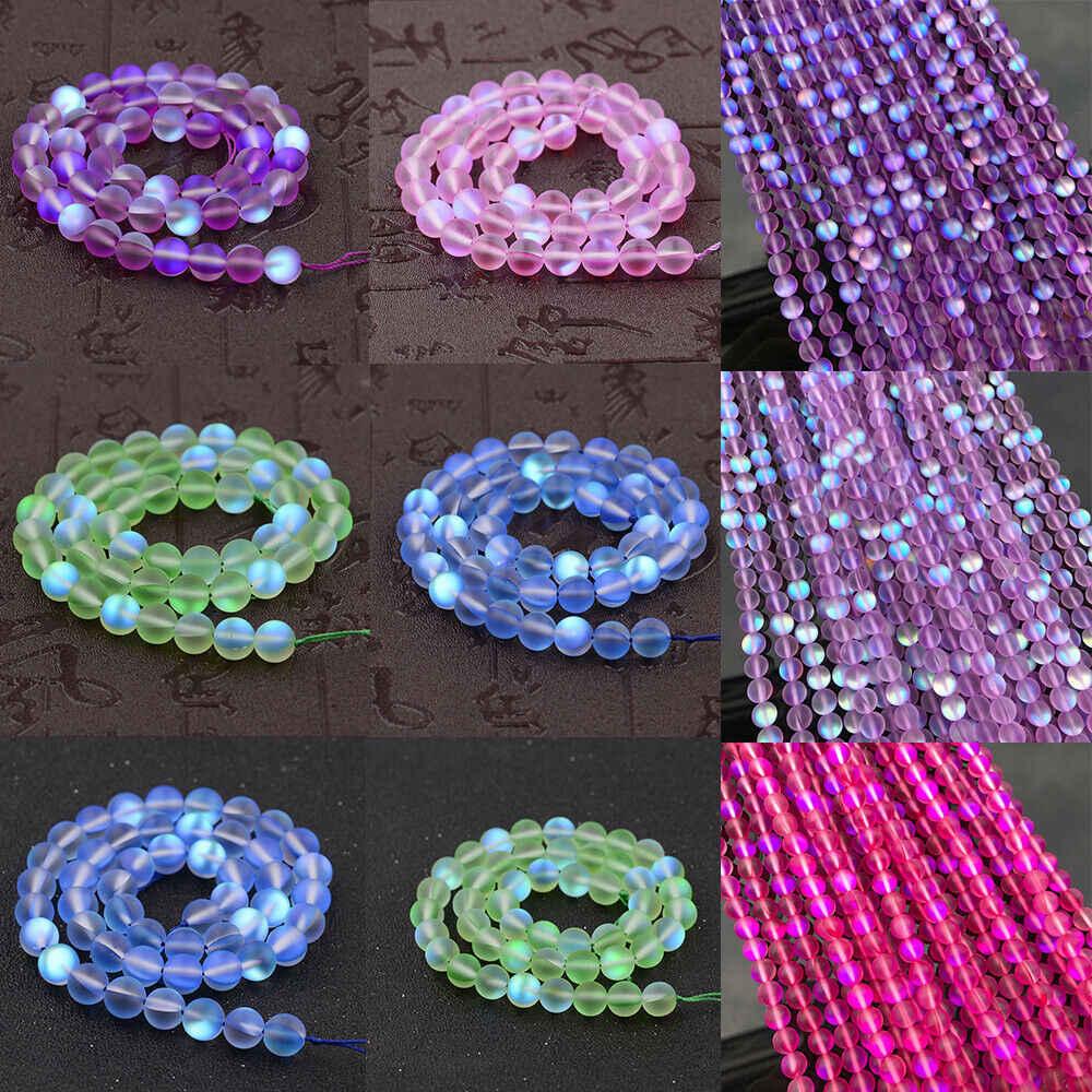 New Mystic Aura Quartz Gemstone Beads Holographic Matte DIY Bracelets Necklace