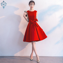 Ameision 2019 summer New Fashion Red Long Bride Toast Evening Dresses O-neck Sleeveless Bow Gowns
