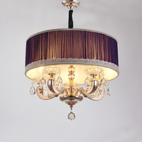 Modern Drum Pendant Lamp European Simple Crystal Fabric Hanging Light E14 Restaurant Living Room Bedroom Fixtures Lighting PL571