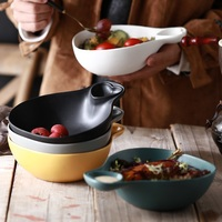 580ML Fruit salad bowl dish Japanese style household ceramic bowl soup bowl creative large tableware