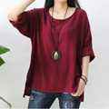 2017 Autumn Casual Loose Plus Size tops Cotton linen Long sleeve Basic tees solid Color O-Neck Women's t-shirts YL277