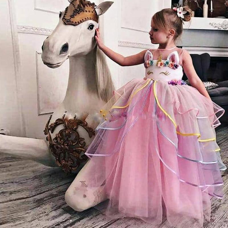 Unicorn dress Flower Girl Wedding Dress Elegent Kids Tutu Princess Party Dresses For Girls Dress Formal Children robe vestidos