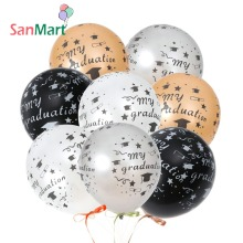 10Pcs 2019 Graduation Balloons Party Decoration 12inch Black White Gold All-Over Print Grad Caps-Confetti and Streamers