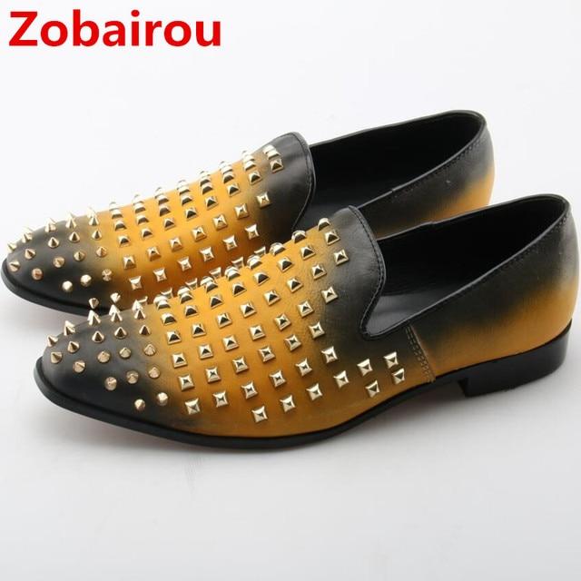 f13749d03 Sapato masculino social Zobairou ouro negro dos homens vestido sapatos  sapatos de casamento de couro genuíno