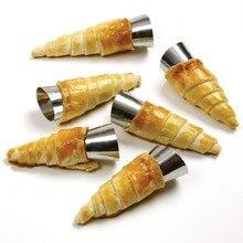 5 Cái/bộ Nhà Bếp Thép Không Gỉ Nướng Nón Sừng Bánh Ngọt Cuộn Bánh Khuôn Xoắn Ốc Nướng Bánh Sừng Bò Ống Bánh Tráng Miệng Dụng Cụ