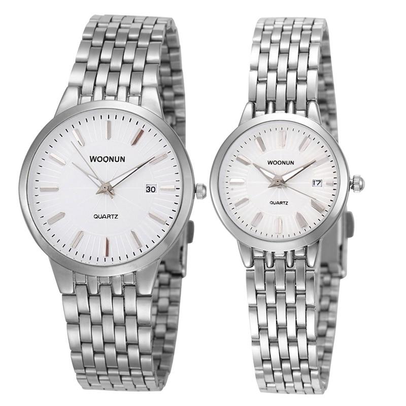 Valentine Gift Fashion Lovers Watches WOONUN Famous Brand Luxury Women Men Full Steel Quartz Ultra Thin Watches Couple Watches