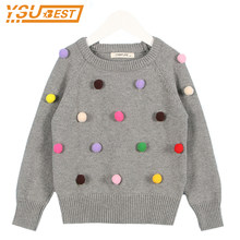 2019 Fashion Boys Jumpers Lovely Baby Girls Boy Sweater Infant 100% Cotton Long Sleeve Coat Ball Design Kids Pullover Sweater(China)