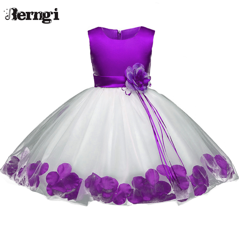 Berngi Flower Girls Dress Rose Petals Princess Party Wedding Dress for Kids Baby Toddlers First Communion Tutu Dress up Clothes