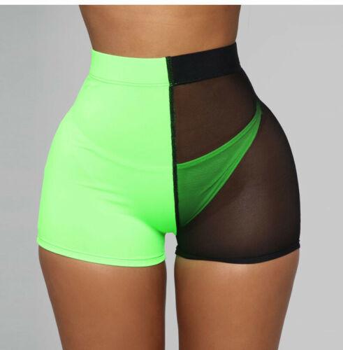 Spring And Summer UK Women Casual Mesh Running Matching Slim Shorts Gym Jogging Anti-lighting Hot Shorts New