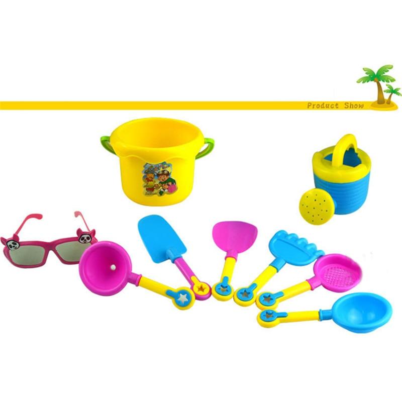 9 Pcs Funny Kids Beach Sand Game Toys Set Shovels Rake Hourglass Bucket Children Outdoor Beach Playset Role Play Toy Kit