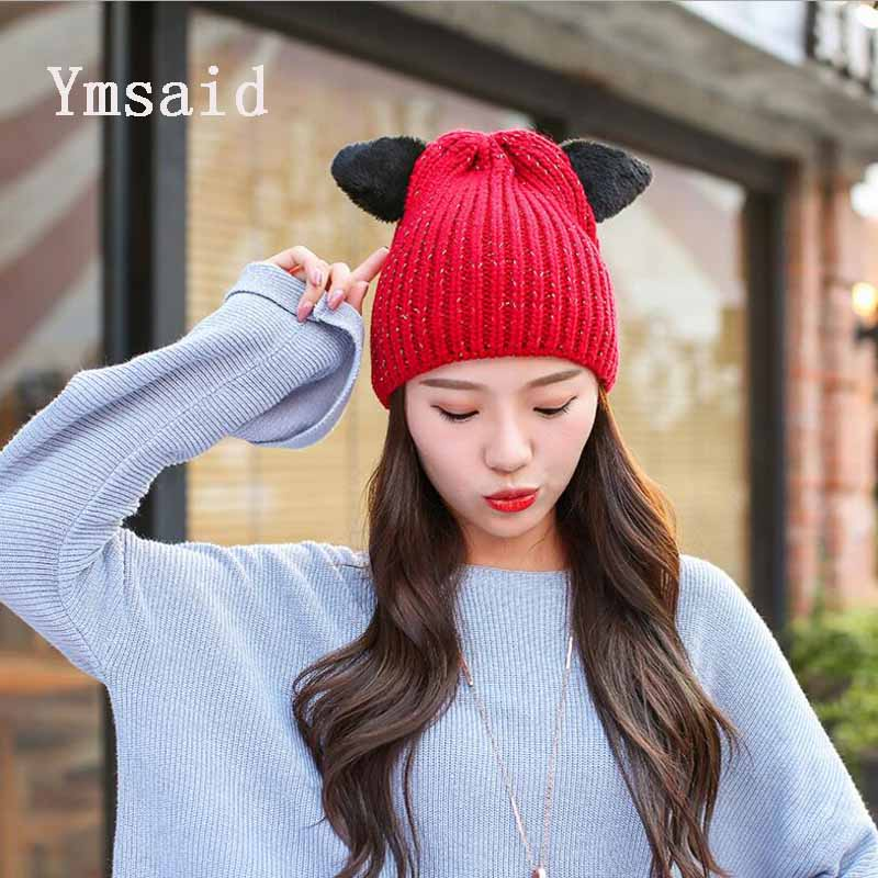 Ymsaid 2017 High Quality Wool Warm And Soft Beanies Hats For Women Cute Winter Knitted Skullies Caps Hat With Cat Ears For Girls fibonacci winter hat knitted wool beanies skullies casual outdoor ski caps high quality thick solid warm hats for women