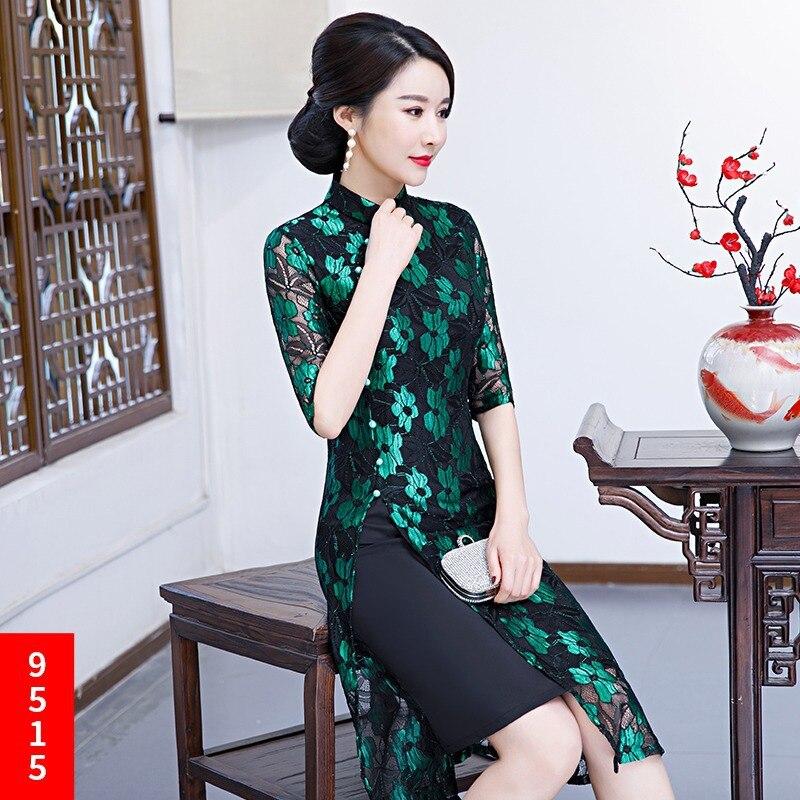 Qipao rojo Rodilla De Vestido La Chino Mandarín Encaje 2019 Collar púrpura Fiesta Azul Mujer verde Longitud Cheongsam Elegante Estilo Slim Vestidos wvF0RWxPqO