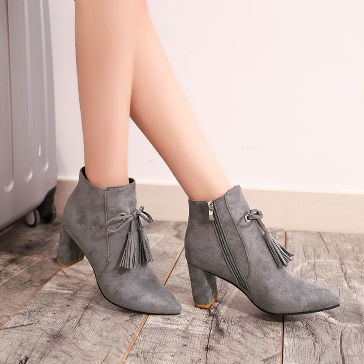 brand design women ankle boots thick high heel tassel martin boots fashion ladies suede leather short boots 2018 winter boots