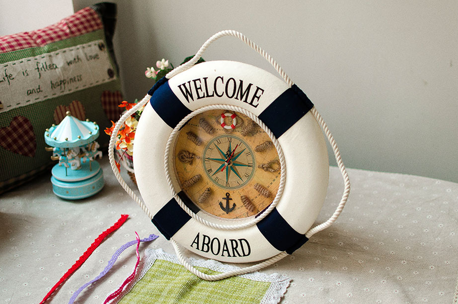 35cm Large Oversize Life Buoy Creative Wall Clock With